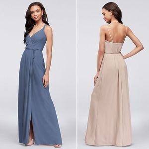 Steel Blue Double-Strap Long Georgette Wrap Dress